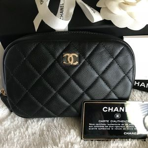 Chanel O Case Black caviar leather with gold hw